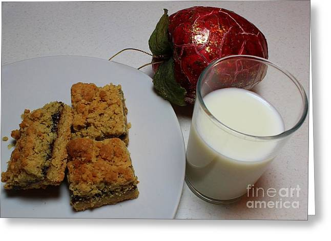 Date Squares - Snack - Dessert - Milk Greeting Card by Barbara Griffin