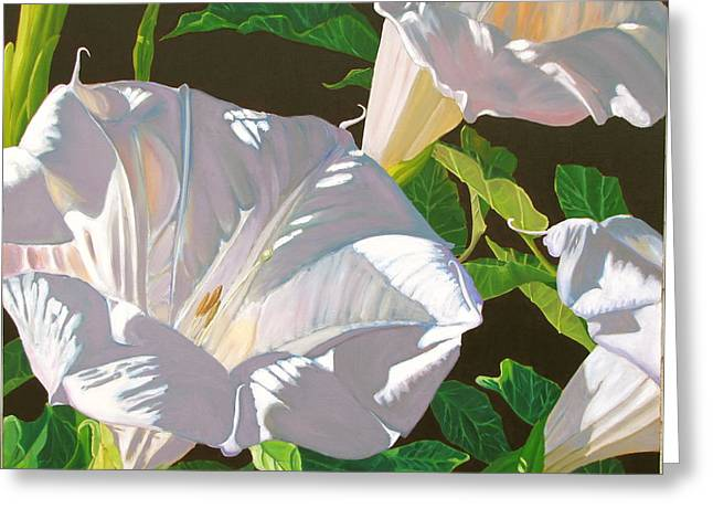 Datura Paintings Greeting Cards - Datura the Lowly Jimson Weed Greeting Card by Dave Barnett