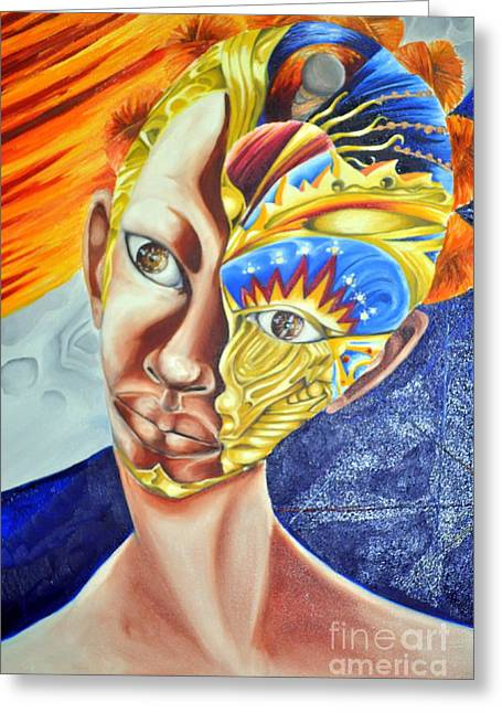 Best Sellers -  - Enterprise Mixed Media Greeting Cards - Daughter of Enterprise-Mask Series 4 Greeting Card by Rhonda Falls