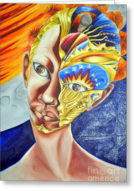 Enterprise Mixed Media Greeting Cards - Daughter of Enterprise-Mask Series 4 Greeting Card by Rhonda Falls