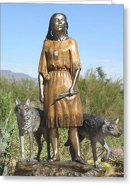 Wolf Sculptures Greeting Cards - Daughter Who Walks With Wolves Greeting Card by J Anne Butler