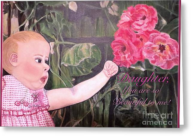Blue And White Gingham Greeting Cards - Daughter You Are So Beautiful to Me Greeting Card by Kimberlee  Baxter