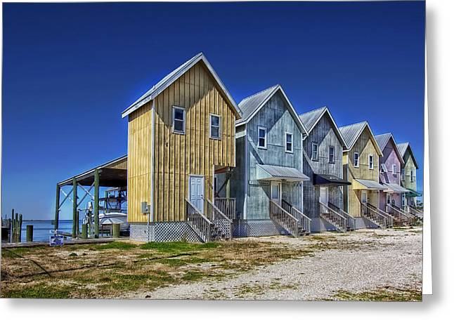 Fishing House Greeting Cards - Dauphin Island Fishing Houses Greeting Card by Mountain Dreams