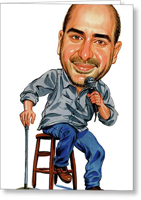 Comedian Paintings Greeting Cards - Dave Attell Greeting Card by Art