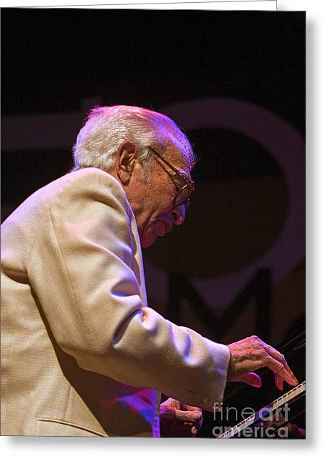 Brubeck Greeting Cards - Dave Brubeck on Piano Greeting Card by Craig Lovell