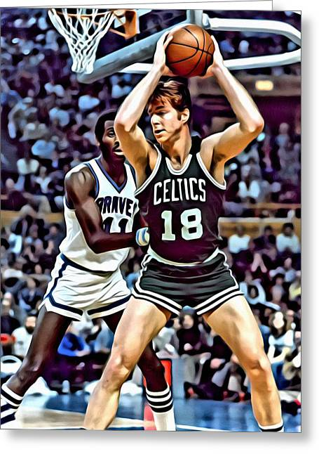 Best Sellers -  - Slamdunk Greeting Cards - Dave Cowens Greeting Card by Florian Rodarte