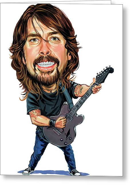 Caricatures Greeting Cards - Dave Grohl Greeting Card by Art