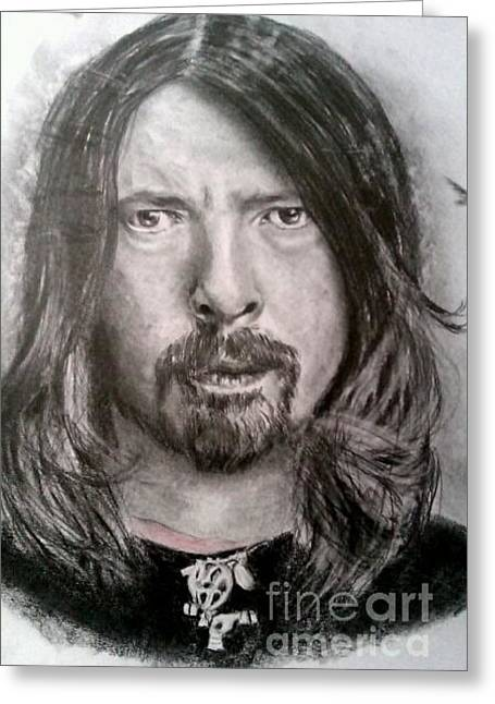 Player Drawings Greeting Cards - Dave Grohl Greeting Card by Brian Horsley