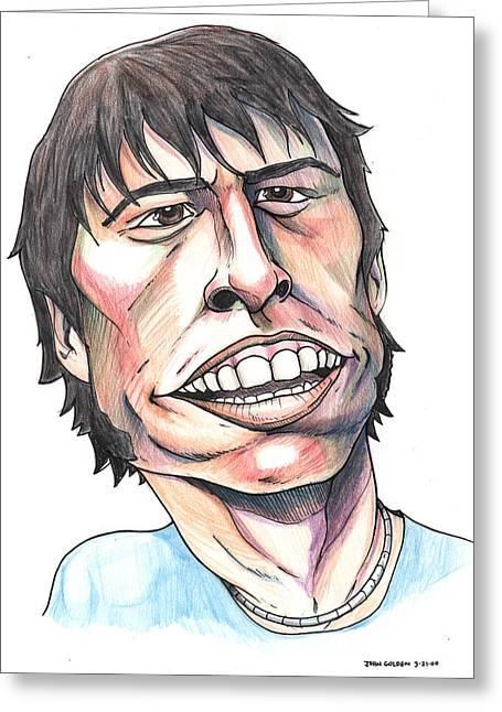 Foo Fighters Greeting Cards - Dave Grohl Caricature Greeting Card by John Ashton Golden