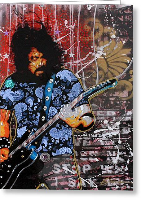 Graffitti Greeting Cards - Dave Grohl Greeting Card by Gary Kroman