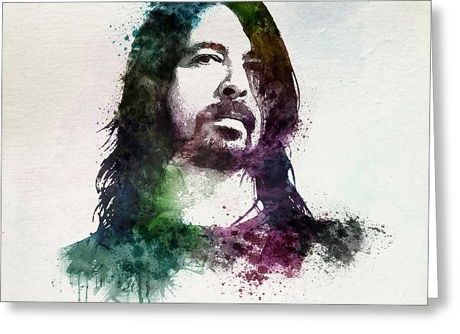 Digital Watercolors Greeting Cards - Dave Grohl watercolor Greeting Card by Marian Voicu