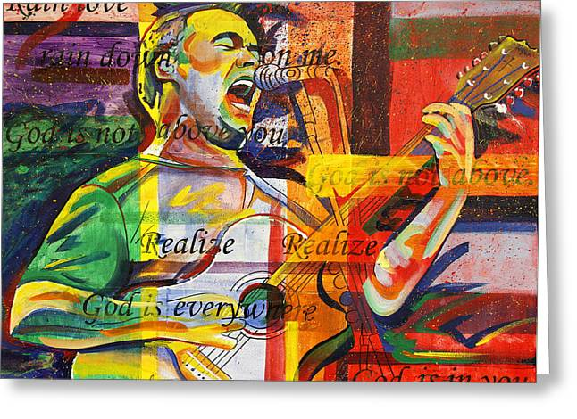 Musician Greeting Cards - Dave Matthews-Bartender Greeting Card by Joshua Morton