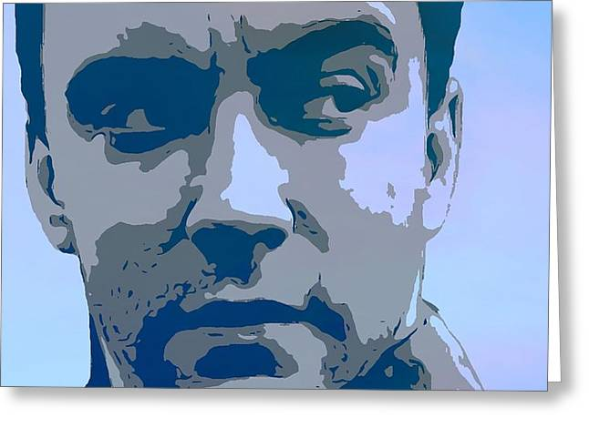 Screaming Mixed Media Greeting Cards - Dave Matthews Blue Greeting Card by Dan Sproul