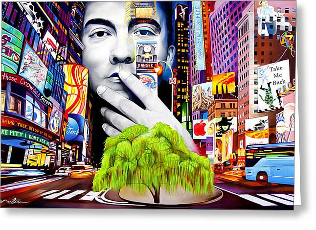 City Scenes Paintings Greeting Cards - Dave Matthews Dreaming Tree Greeting Card by Joshua Morton