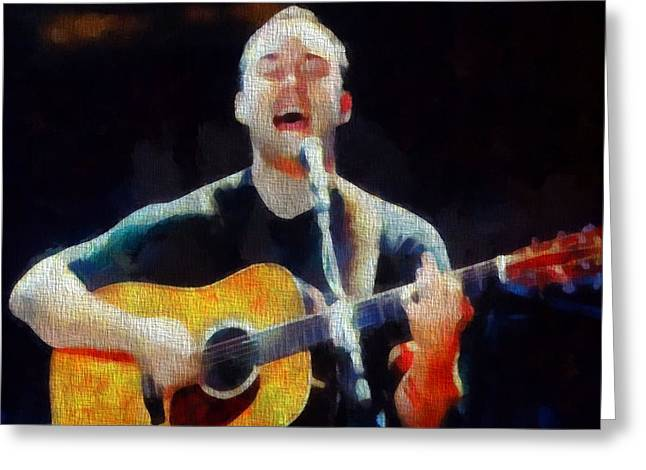 Screaming Mixed Media Greeting Cards - Dave Matthews In Concert Greeting Card by Dan Sproul
