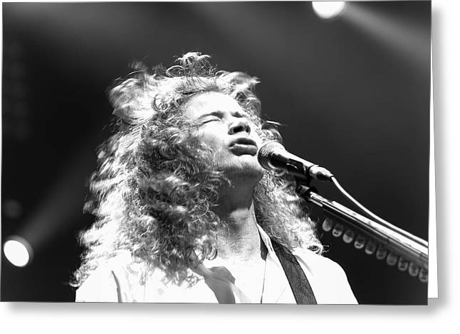 Megadeth Greeting Cards - Dave Mustaine BW live 2012 Greeting Card by Lidia Sharapova