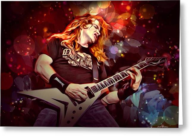 Megadeth Greeting Cards - Dave Mustaine Portrait Greeting Card by Scott Wallace
