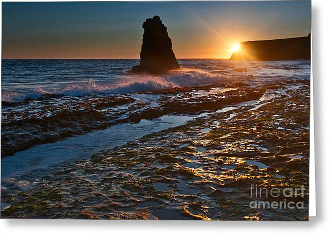 Burst Greeting Cards - Davenport Burst - view of a sea stack in Santa Cruz. Greeting Card by Jamie Pham
