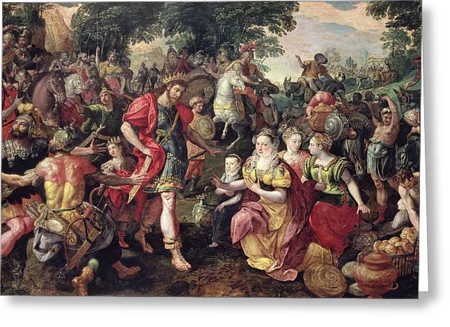 Roman Soldier Greeting Cards - David And Abigail Or Alexander And The Family Of Darius Oil On Panel Greeting Card by Maarten de Vos