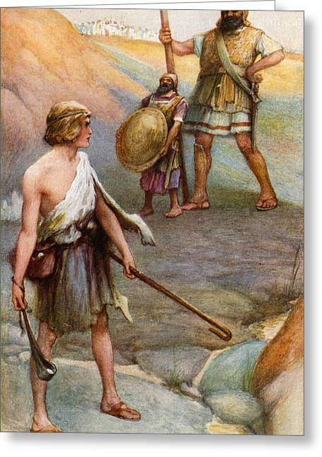Goliath Greeting Cards - David and Goliath Greeting Card by Arthur A Dixon