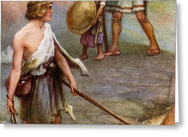 David and Goliath Greeting Card by Arthur A Dixon