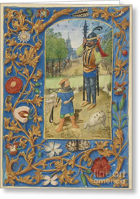Bible Character Greeting Cards - David And Goliath Greeting Card by Getty Research Institute