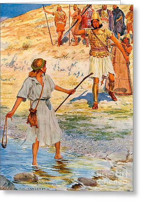 Overcome Greeting Cards - David and Goliath Greeting Card by William Henry Margetson