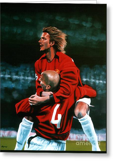 David Beckham And Juan Sebastian Veron Greeting Card by Paul Meijering