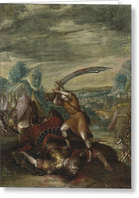Flemish School; (17th Century) Greeting Cards - David Beheading Goliath Greeting Card by Franco-flemish School
