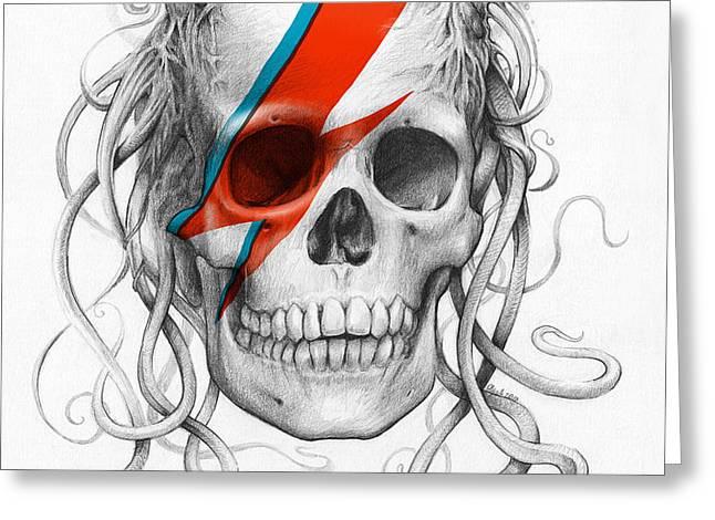 David Bowie Aladdin Sane Medusa Skull Greeting Card by Olga Shvartsur
