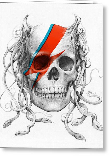 Aladdin Greeting Cards - David Bowie Aladdin Sane Medusa Skull Greeting Card by Olga Shvartsur