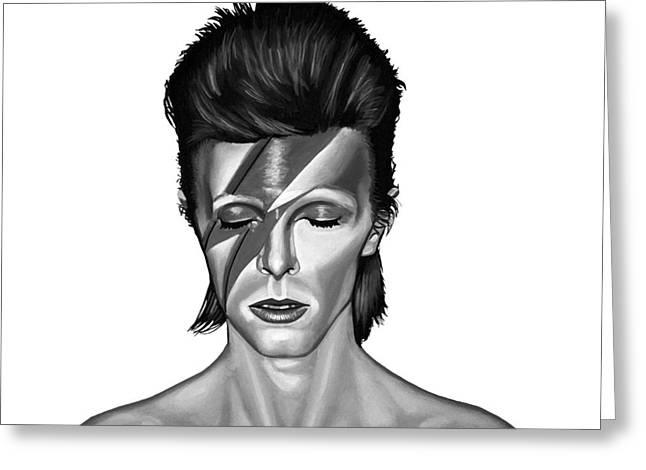 Mick Jagger Portrait Greeting Cards - David Bowie Aladdin Sane Greeting Card by Meijering Manupix