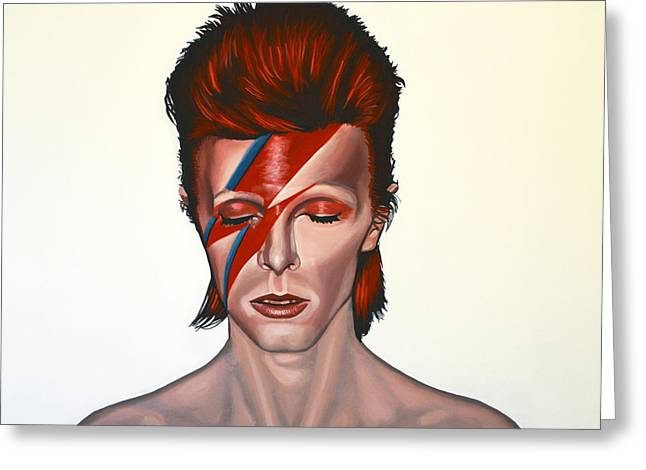 Realistic Paintings Greeting Cards - David Bowie Aladdin Sane Greeting Card by Paul  Meijering
