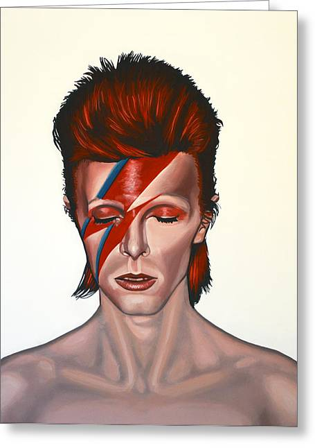 Icon Greeting Cards - David Bowie Aladdin Sane Greeting Card by Paul Meijering