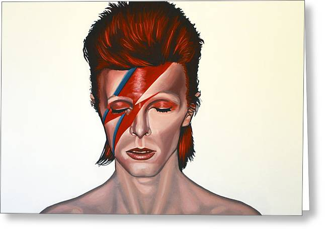 Pop Singer Greeting Cards - David Bowie Aladdin Sane Greeting Card by Paul  Meijering