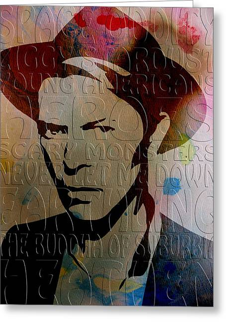 Ziggy Stardust Greeting Cards - David Bowie Greeting Card by Andrew Fare