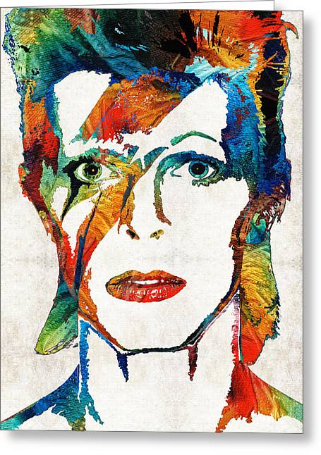 Rock N Roll Greeting Cards - David Bowie Art Tribute by Sharon Cummings Greeting Card by Sharon Cummings