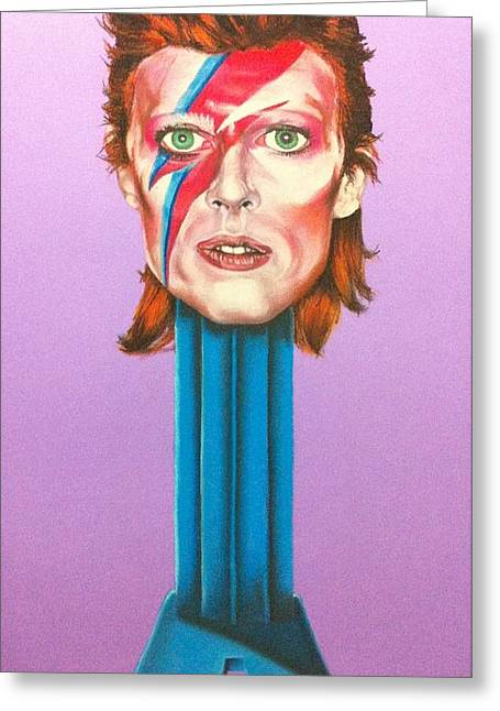 Diamond Pastels Greeting Cards - David Bowie Greeting Card by Brent Andrew Doty
