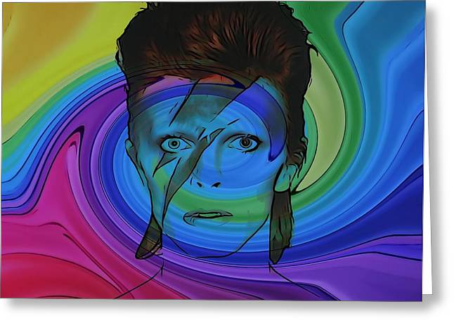 Ziggy Stardust Greeting Cards - David Bowie Color Swirl Greeting Card by Dan Sproul