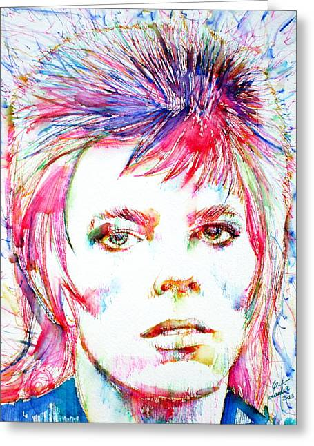Ziggy Stardust Greeting Cards - DAVID BOWIE - colored pens portrait Greeting Card by Fabrizio Cassetta