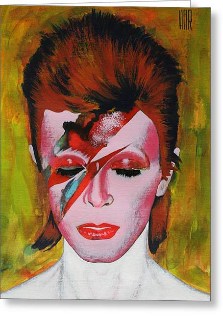 Famous Pop Band Greeting Cards - David Bowie Greeting Card by Dan Haraga