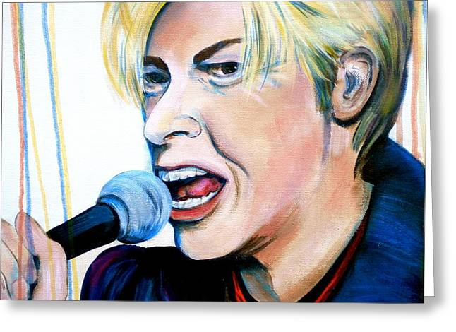 David Bowie Greeting Card by Debi Starr