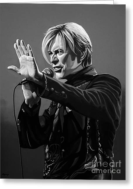 Mick Jagger Portrait Greeting Cards - David Bowie in Concert Greeting Card by Meijering Manupix