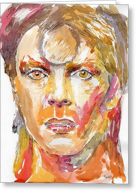 Original Robert Plant Paintings Greeting Cards - David Bowie Greeting Card by Marina Sotiriou