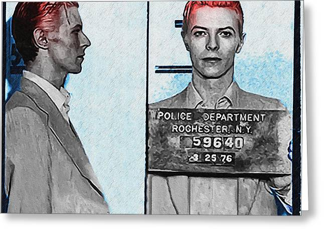 Ziggy Stardust Greeting Cards - David Bowie Mug Shot Greeting Card by Bill Cannon