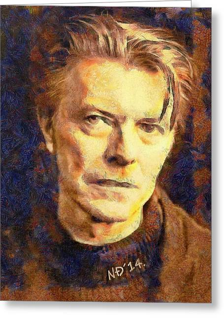 Lucent Dreaming Greeting Cards - David Bowie Greeting Card by Nikola Durdevic