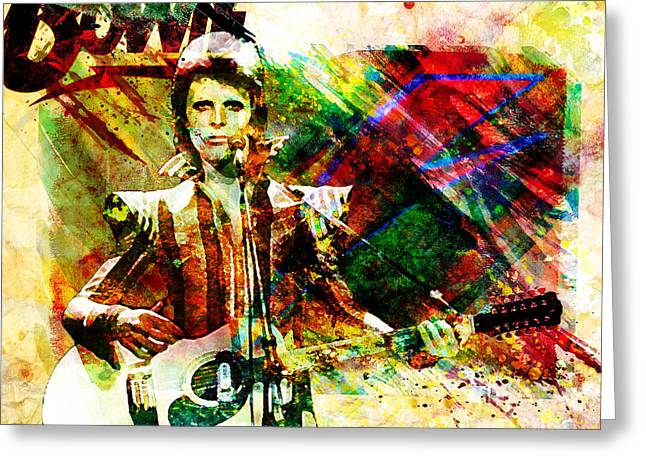 Ziggy Stardust Greeting Cards - David Bowie Original Painting Print Greeting Card by Ryan RockChromatic