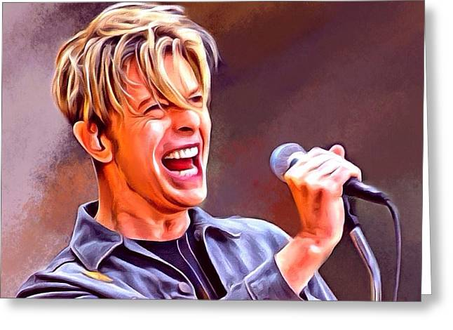 Arranger Greeting Cards - David Bowie Portrait Greeting Card by Scott Wallace