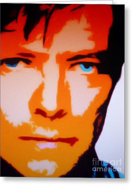 Eyebrow Greeting Cards - David Bowie Greeting Card by Ryszard Sleczka