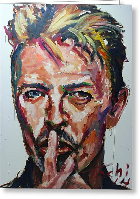 Keith Richards Paintings Greeting Cards - David Bowie Greeting Card by Tachi Pintor